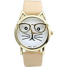 Top Plaza Fashion Women's Platinum Plated Mini Cat Glasses Analog Quartz Watch, PU Leather Strap Gold Tone - Beige Brown