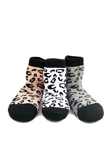 Born To Love Boy's Organic Cotton Skull Sock Set (2-3 Years, leopard print)