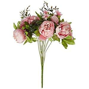 Leagel Fake Flowers Vintage Artificial Peony Silk Flowers Bouquet Wedding Home Decoration, Pack of 1 19