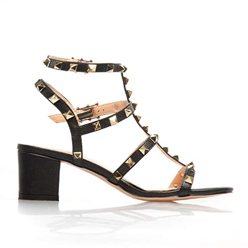 5eaa9fac0 ... Comfity Sandals for Women,Rivets Studded Strappy Block Heels Slingback  Gladiator Shoes Cut Out Dress ...