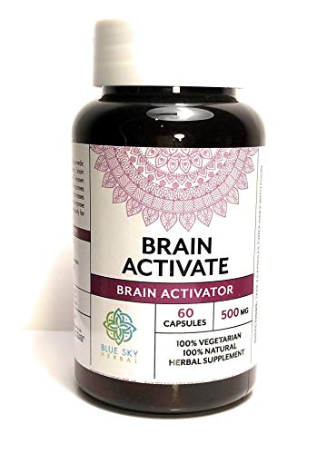 Blue Sky Herbal Brain Activator-Herbal Supplement (60 Pills) Increase Memory, Concentration, Focus, Alertness And Clarity! Capsules Are A Smart Booster Supporting Mental Health. Perform At Your Peak!
