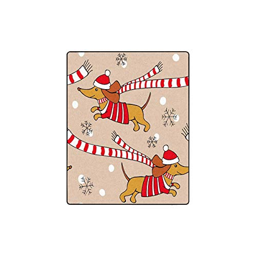 INTERESTPRINT Christmas Pattern with Cartoon Picture of a Dog Dachshund Cozy Soft Microfleece Travel Blanket, Great for Travel or Lounging at Home 40