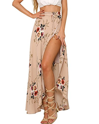 LISASTOR+Women+Elastic+High+Waisted+Floral+Print+Bohemian+Maxi+Skirts+Split+Hem+Tie+up+Bikini+Cover+Up+Long+Beach+Skirt+%28S%2C+Beige%29