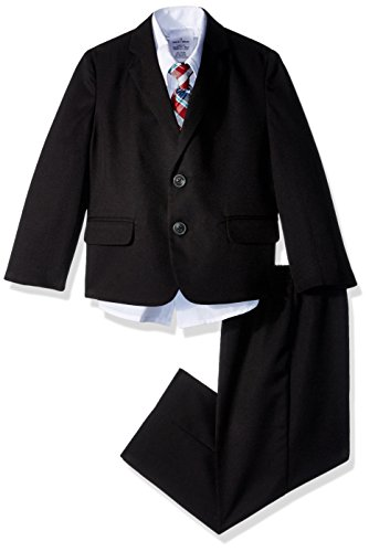 Nautica Boys' 4-Piece Suit Set with Dress Shirt, Tie, Jacket, and Pants, Black Herringbone, 4T