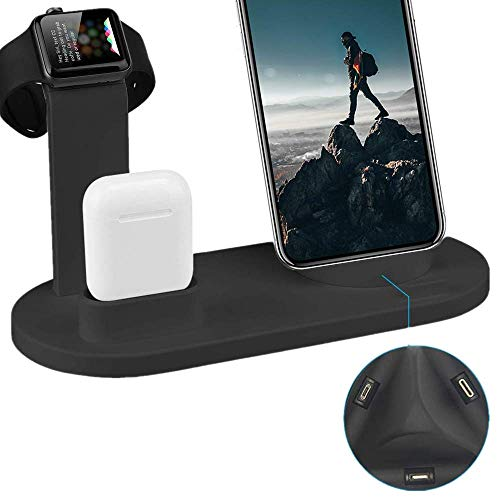 Upgrated Charging Stand for iWatch Cellphone, QinTian 5 in 1 Universal Charging Docks Station Holder Compatible for iWatch/Airpods/Cellphone(Include Type-C, Micro USB, iPhone)