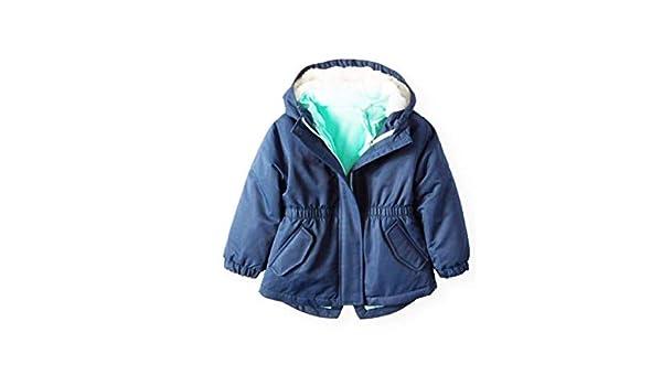 Green Zipper Hood ht 42-44.5 wt 38.5-42 lbs Wonder Nation Toddler Girls Size 5T Jacket 4-in-1 Parka System Navy