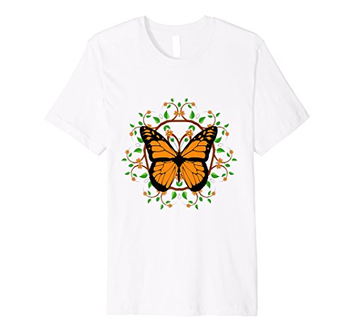 Mens Monarch Butterfly - leaf mandala design Premium Tshirt Medium White