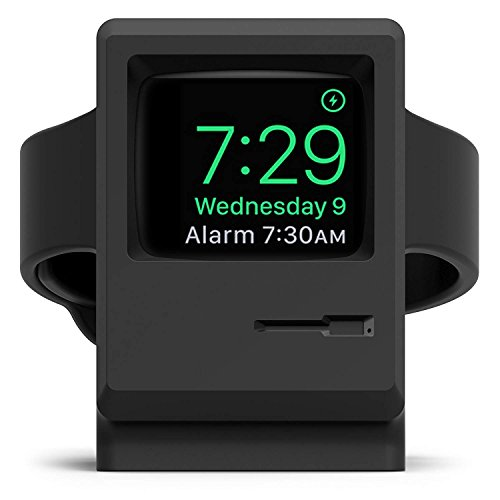 elago W3 Stand [Original Design Awards] [Black] - [Vintage Apple Monitor][Supports Nightstand Mode][Cable Management] - for Apple Watch Series 1, 2, and 3 by elago