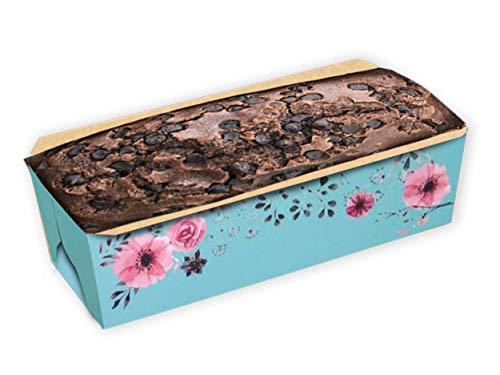Rectangular Paper Loaf Pan Pack Molds Medium Size (PACKAGE 100, BLUE FLORAL) - Paper Mold Loaf