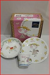 Vajilla infantil porcelana 3 pzas princesa personalizada con nombre