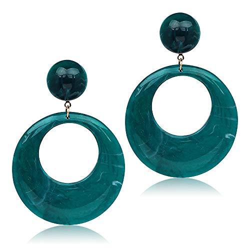 Acrylic Earrings for Women Drop Dangle Leaf Earrings Resin Minimalist Bohemian Statement Jewelry (Hoop-Blue) ()