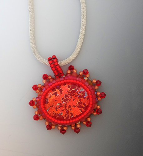 (Red and Copper Oval Bead Embroidered Dichroic Pendant)