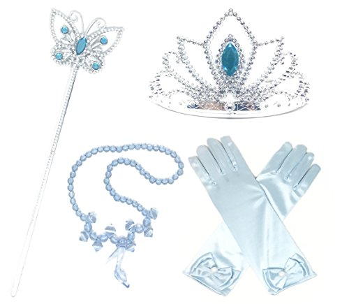 Princess Cinderella Dress up Party 4-Piece Accessories Gift Set (C. Light Blue)