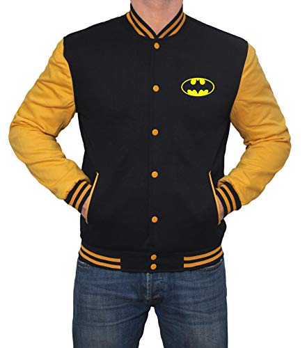 Yellow and Black Mens Varsity Jacket - High School Superhero Varsity Jacket |Bat Classic, M