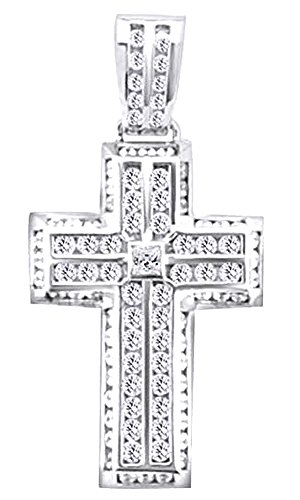 2.24 Ct Princess & Round Cut White CZ Hip Hop Cross Pendant In 14K Gold Over Sterling Silver by wishrocks