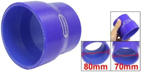 DealMux 70mm to 80mm Straight Reducer Silicone Turbo Hose Coupler Blue