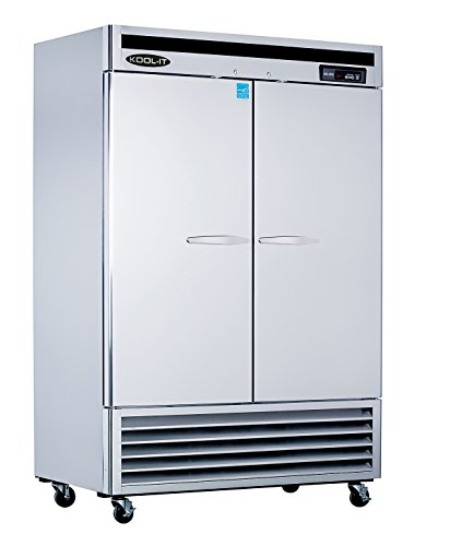 Kool-It KBSF-2 Stainless Steel Double Door Freezer Bottom Mount Compressor, 53-115/128'' Width x 82-89/128'' Height x 31'' Depth by Kool-It