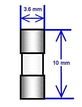 """10 x FUSIBLE 250 V 50 a CARTUCHO 3.6mm X 10mm 8 a 0.14/"""" X 0.39/"""""""