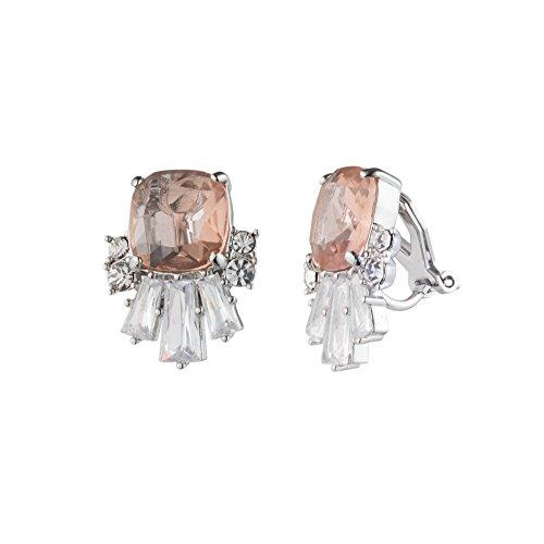 Carolee Women's Blushing Bride Women's Cluster Clip-On On Earrings, Silver/Light Pink