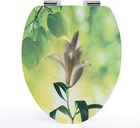 IAIZI ミュート抗菌MDFと簡単に便座3D便座は、トップがVトイレのために互換性のあるトイレのふたをマウントAをインストールするには、36 * 44cmの (Color : A, Size : 36*44CM)