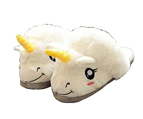 Meledy Women's Indoor House Halloween Animal Plush Slip-on Household for Grown Ups Cartoon Unicorn Slippers for $<!--$8.99-->
