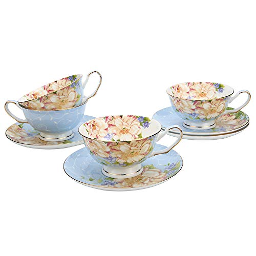 China Teacup Floral (JinGlory Tea Cups,Floral Tea Cups and Saucers Set of 4,Bone China Tea Set,Blue Tea Set with Gold Trim and Box,Coffee Cups,Mocha Cups,Latte Cups,Cappuccino Cups,Tea Sets for Women)