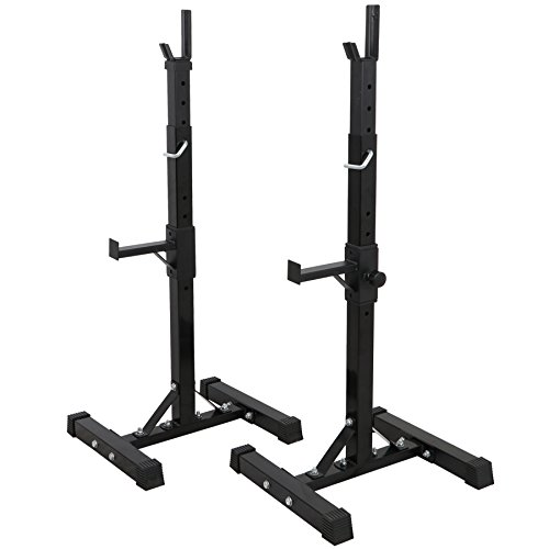 F2C Pair of Adjustable 41''-66'' Sturdy Steel Squat Rack Barbell Free Bench Press Stand Gym/Home Gym Portable Dumbbell Racks Stand Max 550lbs by F2C (Image #3)