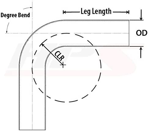 HPS 4 OD 120 Degree Bend 6061 Aluminum Elbow Pipe 16 Gauge w// 4 CLR