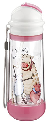 Drinkadeux Glass Double Wall Insulated Bottle with Straw, Cupcake/Farm