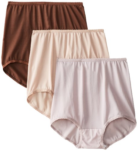 Bali Women's Skimp Skamp Brief Panties (3-Pack), Toffee/Warm Steel/Chocolate Brown, 9