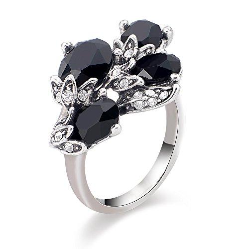 Style Flower Ring (Dnswez Fashion White Gold plated Silver Tone Black Crystals Ring Flower Cocktail Style Mothers')