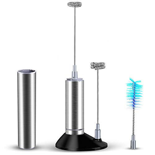 - Clearance Sale!UMFun Handheld Milk Frother with 2 Spring Whisk Head Stand Brush Electric Foam Maker 24cm