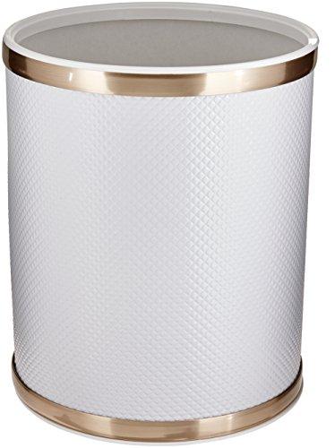 Redmon Bath Jewelry Diamond Pattern Wastebasket, White/Gold ()