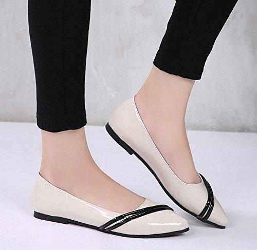 Plates Ballerines Abricot En Chaussures Vernis Aisun Mode Femme FqBXYX