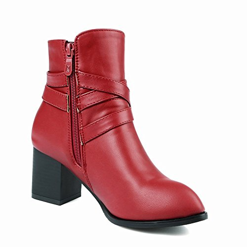 Charm Foot Womens Vintage Chunky Tacco Grosso Con Cinturino Rosso