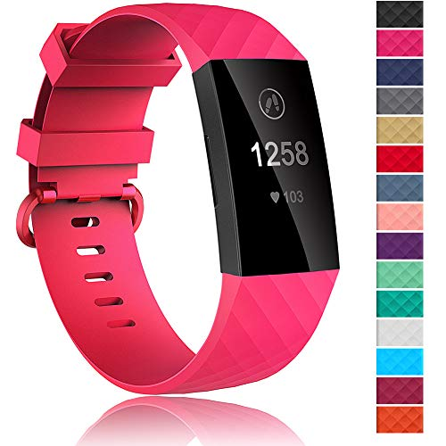 Velavior Waterproof Bands for Fitbit Charge 3 / Charge3 SE, Replacement Wristbands for Women Men Small Large (Hot Pink, Small)