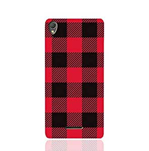 Sony Xperia T3 Ultra TPU Silicone Case with Red and Black Plaid Fabric Design