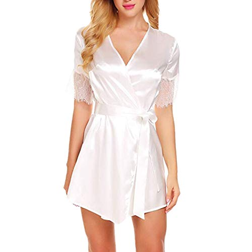 (NEARTIME Women's Sexy Sleepwear Robe High-end Lace Transparent Pajamas Temptation Lingerie Nightgown)