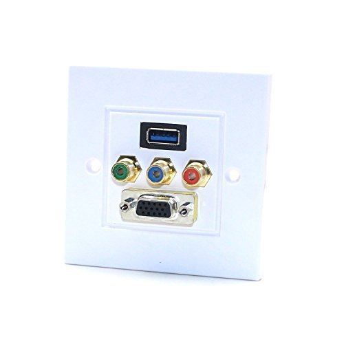 Component Video Audio Wall Plate With USB 3.0 3RCA Hdmi VGA Ports Wall Socket Faceplate Panel - Aircraft Audio Panel