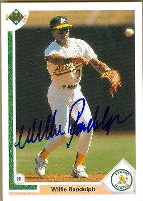 Autograph 121138 Oakland Athletics 1991 Upper Deck No. 421 Willie Randolph Autographed Baseball Card (Autographed Randolph Baseball Willie)