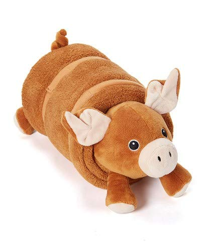 Rollee Pollee PETS Collection, Pig in a Blanket for Toddlers with Elastic Straps and Extra Top Blanket, Super Soft, Fits on Cots and Mats (Brown Pig Nap Sac) -
