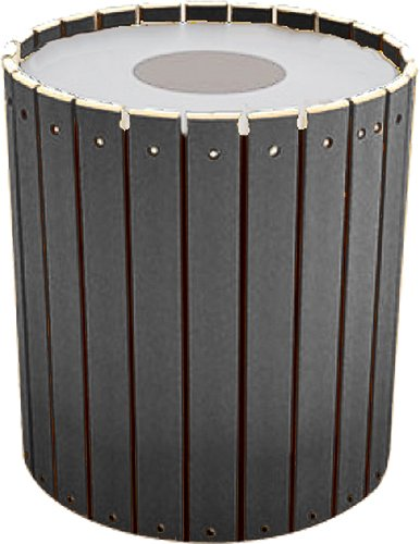 - Kay Park Recreation 132LRRPP-GRY 32 gal Trash Receptacle with Slats, Free Standing, Recycled Plastic, Gray