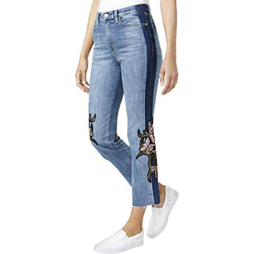 Buffalo David Bitton Womens Floral Ankle Cropped Jeans Blue 32