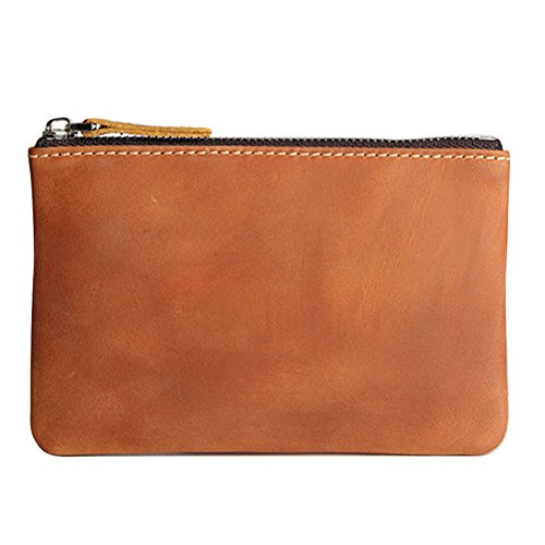 Leather Zipper Mens (Coin Purse Pouch Fmeida Men's Leather Zipper Change Wallet (Red Brown))