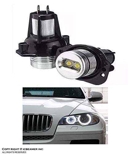 ICBEAMER Fit BMW Angel Eye E90,E91,63117161444 Halo Ring LED Light Bulbs 7000K [Color:Super White] Pack of 2 Pieces ()