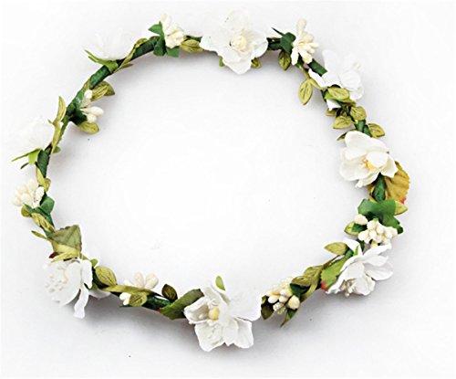 Bohemian Flower Crown Headband Garland Crown Bridal Festival Wedding Hair Garland Wreath Headdress (Milk)