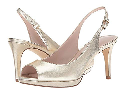 (Nine West Women's Gabrielle Slingback Peep Toe Pump Light Gold Metallic 9 M US)