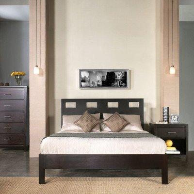 - 2 Piece Riva Platform Full Size Bed & Nightstand in Espresso Brown - Modus Furniture