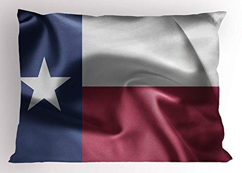 ow Sham, State of Texas Flag with Star Freedom Symbol Wind Blow Effect Print, Decorative Standard Queen Size Printed Pillowcase, 30 X 20 inches, Maroon Dark Blue White ()