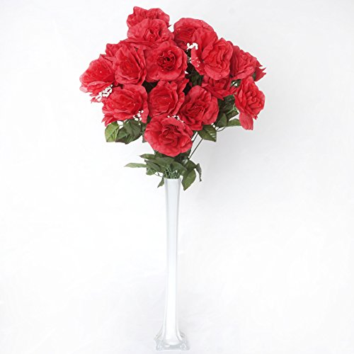 BalsaCircle 96 Red Silk Giant Open Roses - 4 bushes - Artificial Flowers Wedding Party Centerpieces Arrangements Bouquets